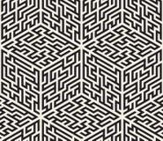 Vettore Maze Pattern isometrico in bianco e nero senza cuciture Immagini Stock