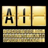 Vettore meccanico del tabellone segnapunti Orario giallo dell'oro con i numeri e le lettere neri Pannello analogico dell'orologio illustrazione vettoriale