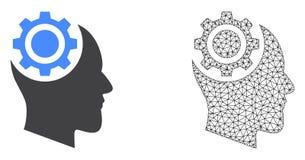 Vettore Mesh Human Intellect Gear poligonale ed icona piana illustrazione di stock