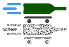 Vettore Mesh Rolling Wine Delivery poligonale ed icona piana illustrazione di stock