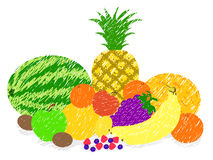 Vettore misto del disegno della pittura della frutta Fotografie Stock