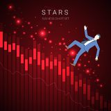 Vettore moderno del grafico di declino di affari con un uomo d'affari che cadono e le stelle su fondo rosso scuro Fotografia Stock
