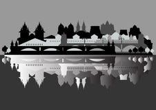 Vettore monocromatico: la vecchia città europea è riflessa  Immagine Stock