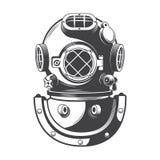 Vettore nautico d'annata del casco di immersione subacquea Fotografie Stock Libere da Diritti