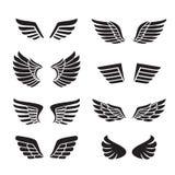 Vettore nero delle icone delle ali fissato (siluette) Progettazione di Minimalistic Immagine Stock