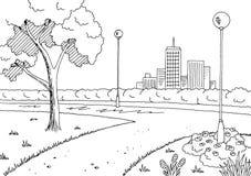 Vettore nero grafico dell'illustrazione di schizzo del paesaggio della lampada bianca del parco Fotografia Stock Libera da Diritti