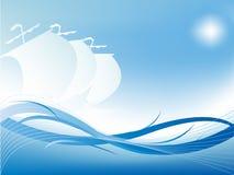 Vettore ondulato astratto con una siluetta dei tre yacht Fotografie Stock Libere da Diritti
