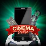 Vettore online del cinema Bandiera con il telefono mobile concetto online del cinema 3D Il modello per il web cita, annunci, mani Immagine Stock Libera da Diritti