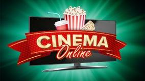 Vettore online dell'insegna del cinema Monitor realistico del computer Progettazione dell'opuscolo di film Insegna del modello pe Immagine Stock