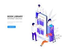 Vettore online isometrico 3d di concetto delle biblioteche illustrazione vettoriale