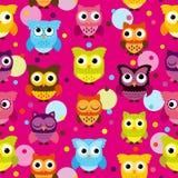 Vettore Owl Background Pattern di Tileable e senza cuciture Immagine Stock Libera da Diritti