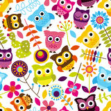 Vettore Owl Background Pattern di Tileable e senza cuciture