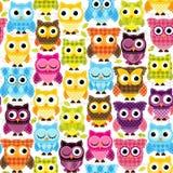 Vettore Owl Background Pattern di Tileable e senza cuciture Fotografie Stock Libere da Diritti