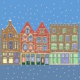 Vettore Paesaggio urbano di Natale di inverno Immagini Stock Libere da Diritti