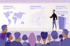 Vettore parlare pubblico di presentazione o di conferenza illustrazione vettoriale