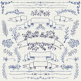 Vettore Pen Drawing Floral Design Elements, nastri Immagini Stock