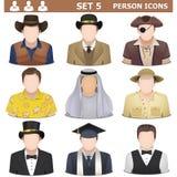 Vettore Person Icons Set 5 Immagini Stock Libere da Diritti