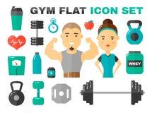 Vettore piano Art Set delle icone della palestra carattere maschio e femminile del coache di forma fisica illustrazione di stock
