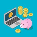 Vettore piano 3d del porcellino salvadanaio di risparmio del salvadanaio di Bitcoin isometrico Fotografia Stock Libera da Diritti