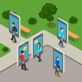 Vettore piano 3d della generazione di chiacchierata di tecnologia mobile del telefono isometrico Fotografia Stock