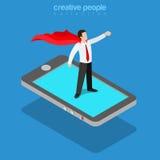 Vettore piano 3d isometrico del supereroe dell'uomo d'affari del telefono mobile dell'eroe Immagini Stock