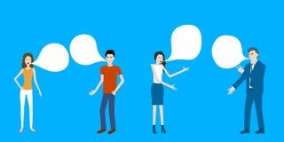 Vettore piano del fumetto di progettazione di parlare sguardo casuale e la gente di affari Immagini Stock