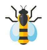 Vettore piano del miele di giallo dell'ape della natura dell'ala della mosca dell'operaio dolce occidentale europeo dell'insetto Fotografia Stock Libera da Diritti