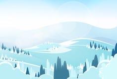 Vettore piano dell'icona del landcape della montagna di inverno Immagine Stock