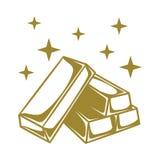 Vettore piano dell'illustrazione della barra di cioccolato dell'oro Immagini Stock