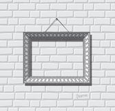 Vettore piano della cornice Blocco per grafici della foto sul muro di mattoni Struttura della pittura Fotografie Stock