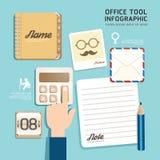 Vettore piano di concetto dello strumento dell'ufficio delle icone di progettazione di Infographic. Immagine Stock Libera da Diritti