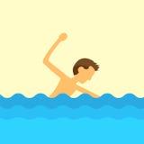 Vettore piano di progettazione dell'acqua di nuoto dell'uomo Fotografia Stock