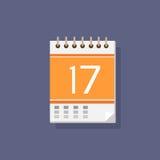 Vettore piano di progettazione di colore dell'icona del calendario Immagini Stock Libere da Diritti