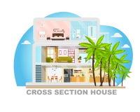 Vettore piano di progettazione di sezione trasversale futuristica della villa royalty illustrazione gratis