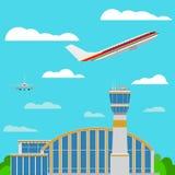 Vettore piano di stile degli aeroplani dell'aeroporto Fotografia Stock