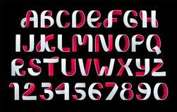 Vettore piegante di carta di alfabeto Fonte bianca e nera dello scritto del nastro royalty illustrazione gratis