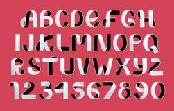 Vettore piegante di carta di alfabeto Fonte bianca e nera dello scritto del nastro illustrazione vettoriale