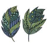 Vettore, piume, foglie, astrazione illustrazione di stock