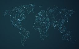 Vettore poligonale della mappa di mondo semplificato alle linee triangolari con le stelle su fondo blu royalty illustrazione gratis