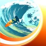 Vettore praticante il surfing