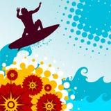 Vettore praticante il surfing Immagine Stock Libera da Diritti