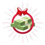 Vettore premiato di vittoria di offerta dei soldi, mucchio del regalo del pacco dei contanti Immagini Stock