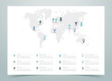 Vettore punteggiato della mappa di mondo con gli indicatori Fotografie Stock