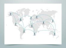 Vettore punteggiato della mappa di mondo con i collegamenti Immagine Stock