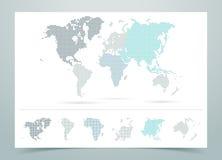 Vettore punteggiato della mappa di mondo con i continenti Fotografia Stock