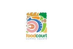 Vettore quadrato gastronomico di progettazione dell'estratto di Logo Shop dell'alimento Fotografie Stock Libere da Diritti