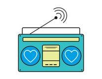 Vettore radiofonico dell'icona, vecchie retro onde del radioricevitore, segno del sintonizzatore isolato su fondo bianco Vecchia  royalty illustrazione gratis