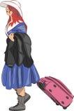 Vettore Ragazza con una valigia Immagini Stock