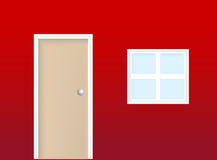Vettore realistico della finestra e del portello Fotografia Stock