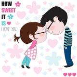 Vettore romantico e dolce delle coppie di amore Immagine Stock